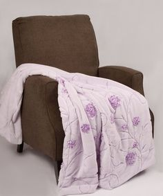 Love this Lilac Floral Embroidered Faux Fur Throw on #zulily! #zulilyfinds