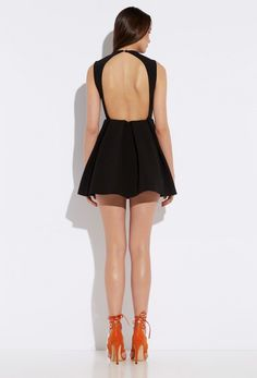 Upper Black Deep V Backless Skater Mini Dress £150