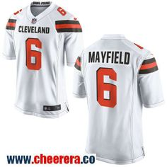 3a9f7dd3b Men s Cleveland Browns  6 Baker Mayfield White Road Stitched NFL Nike Game  Jersey