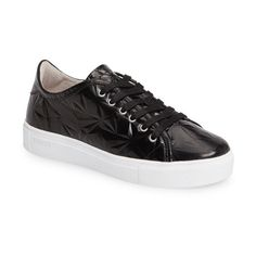 Women's Blackstone Nl34 Faceted Sneaker (360 BGN) ❤ liked on Polyvore featuring shoes, sneakers, black leather, genuine leather shoes, black leather trainers, sparkly shoes, black shoes and kohl shoes