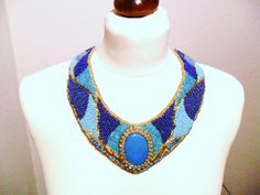 Bead Embroidered Necklace (Collar) with chain