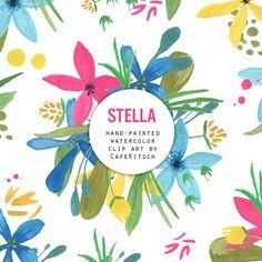 INSTANT DOWNLOAD  Stella Watercolor Flowers by PepperStudio