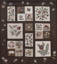 """Well my Yoko Saito quilt now called """"Japanese Applique"""" (sorry that isn't a very exciting name) is finished (well almost!) and hanging on. Yoko Saito, Patchwork Quilt Patterns, Applique Patterns, Applique Quilts, Applique Designs, Patchwork Designs, Crazy Patchwork, Embroidery Designs, Quilting Designs"""
