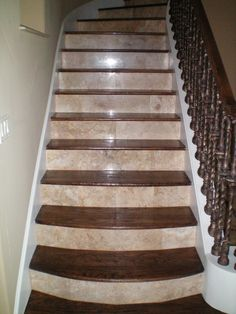 travertine and wood floor design Bing Images Tile Stairs, Hardwood Stairs, House Stairs, Curved Staircase, Staircase Design, Floating Staircase, Banister Remodel, Wood Floor Design, Wood Steps
