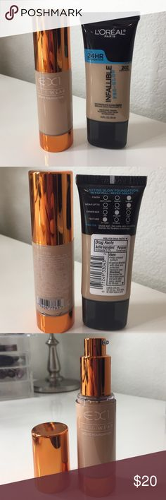EX1 Invisiwear & L'Oréal Infallible Pro-Glow Brand new EX1 Invisiwear Foundation in shade F100. True color pigments even our skin tone and correct imperfections for perfect coverage that is almost invisible. Oil-free and won't clog pores. Like new L'Oréal Infallible Pro-Glow Foundation in shade 202 Creamy Natural (has been used once!) Both include 1 oz of product EX1 Makeup Foundation