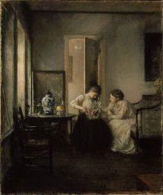 New England Interior - Edmund Charles Tarbell 1906. Oil on canvas. 77.15 x 64.13 cm. Museum of Fine Arts, Boston.
