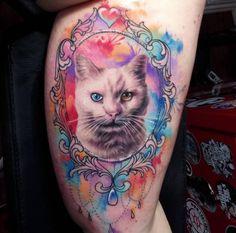 Odd-eyed Watercolor Cat Tattoo by Maria Kjeldsen Black Cat Tattoos, Love Tattoos, Beautiful Tattoos, Tatoos, Animal Lover Tattoo, Animal Tattoos, Respect Tattoo, Cat Portrait Tattoos, Watercolor Cat Tattoo