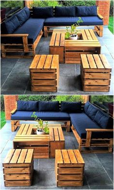 15 wonderful DIY pallet furniture outdoor that look awesome which requires creativity, excellent step, useful, aesthetically and fit. Garden Furniture Design, Pallet Garden Furniture, Diy Outdoor Furniture, Furniture Projects, Diy Furniture, Outdoor Decor, Outdoor Pallet, Modern Furniture, Rustic Furniture