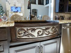 rounded front two tone scroll farmhouse copper kitchen sink from coppersinksonlinecom - Copper Kitchen Sinks Reviews