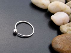 Argentium Sterling Silver Ball Seamless Hoop Earring