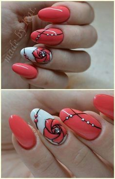 White Polish with Red Polish and Flower Nails
