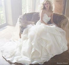 hayley paige fall 2013 wedding dress strapless striped organza elongated bodice flounced tulle skirt style 6351