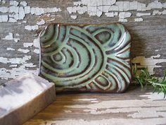 Men's Soap Dish  Moss Green Glaze  Handmade by DragonflyArts, $12.00