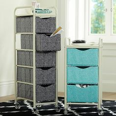 Mini Dot Ready-To-Roll Storage Cart #potterybarnteen This cute, portable storage solution keeps all your get-ready supplies organized. Canvas bins in playful mini dots are tiered in a lightweight metal frame with wheels, so you can tuck it away into narrow spaces. Frame is iron. Bins are polyester. Wheels tuck away inside narrow spaces. Sold individually.
