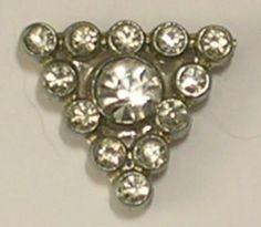 Rhinestone Triangle Tie Tack Lapel Pin Hat Pin Scarf Pin Silver Colored Metal…