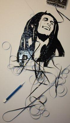 Bob Marley casette tape art