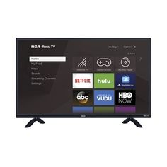 Roku search allows you to easily search across top streaming channels by title, actor or directly and now includes voice search. This RCA ROKU LED HDTV features a sleek modern design with its quad-pedestal stand. Abc Movies, Smart Tv Samsung, Tv 40, Tv Game Console, Tv Trays, Shops, Cable Box, Home Tv, Tv Episodes