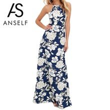 Anself vintage floral imprimir summer long maxi dress fora do ombro sexy women causal dress plus size praia vestidos de festa vestidos(China (Mainland))
