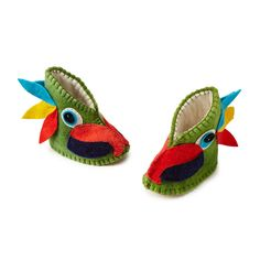 Keep your little one cozy with this vibrant set of parrot booties.