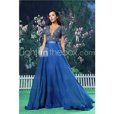 Formal Evening Dress - Royal Blue A-line Jewel Floor-length Chiffon / Lace / Satin - USD $ 130.49