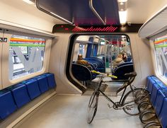 Bikes on trains somewhere in Europe. Our own Metrorail would sooner take a cyanide pill than see this kind of set up on our trains.