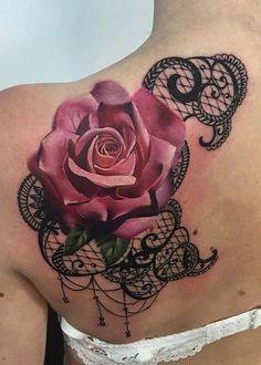 Pink Rose Shoulder Tattoo Ideas - Black Lace Shoulder Tat at MyBodiArt.com