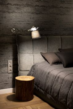 I want this headboard! Love the wall treatment, too.