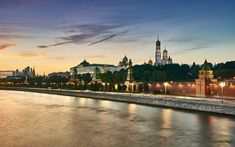 Download wallpapers Moscow, Russia, evening, Kremlin, Moscow river, embankment, Russian Federation, landmarks