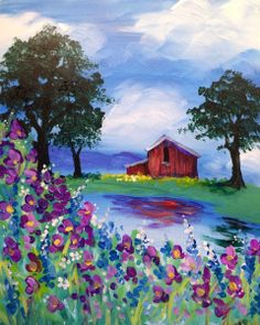 Tranquil Pond: Under a beautiful cloudy sky, a weathered barn sits on the edge of a tranquil pond. The vibrant colors and impressionist style of the wildflowers let the paint brushes do all the talking.