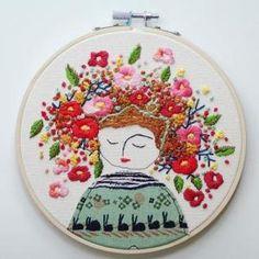 flower lady embroidery by kelseyinfo