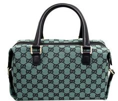 Gucci Canvas Green Joy Boston Handbag Bag 272375 *** You can find out more details at the link of the image. New Handbags, Hermes Handbags, Burberry Handbags, Luxury Handbags, Fashion Handbags, Fashion Bags, Leather Handbags, Leather Wallet, Boston Bag