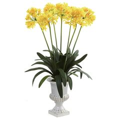 The stately Nearly Natural African Lily Silk Flower stands 34 inches tall and is rich with colorful blooms. This silk African lily arrangement includes. Silk Plants, Fake Plants, Artificial Plants, Faux Flowers, Silk Flowers, African Lily, Flower Stands, Silk Flower Arrangements, Urn