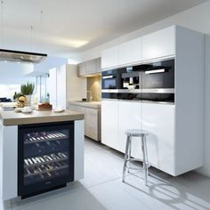 Poggenpohl Kitchens | Searle & Taylor Kitchens in Hampshire and London Maple Kitchen Cabinets, Wine Cabinets, Integrated Wine Cooler, Small American Kitchens, Wine Fridge, In Vino Veritas, Wine Storage, Küchen Design, Kitchens