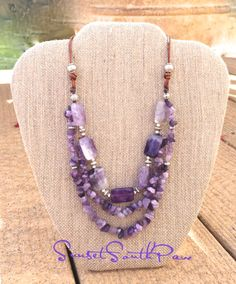 Multi Strand Leather and Bead Amethyst Necklace, Layering Necklace, Artisan, Semi Precious, Statement Necklace, Handmade, Free Shipping by SunsetSouthPaw on Etsy