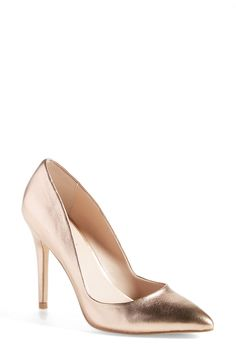 Obsessed with these rose gold pumps.