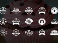 Vintage Logo / Retro Label & Badges by Design District on Dribbble Logos Vintage, Vintage Logo Design, Retro Logos, Lace Cupcakes, Cupcake Cakes, Badge Design, Label Design, Ui Design, Cake Logo