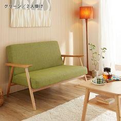 北欧風タモ材の木肘ソファー