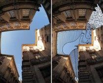El artista Thomas Lamadieu toma fotos de edificios y después usa el cielo como su Lienzo   CREARTIKA