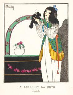 MARTIN, Charles. La Belle et la Bete. (Matinee)  Original pochoir print for the Gazette du Bon Ton, Paris, c.1920.