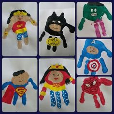 Superhero handprint kids planning to do this cute super hero art project with my baby nephews next time they visit. superhero hand art canvas family paint by marylou Baby Crafts, Preschool Crafts, Crafts To Do, Crafts For Kids, Toddler Crafts, Superhero Art Projects, Projects For Kids, Hero Arts, You Are My Superhero