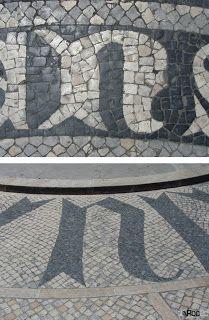 Coimbra, empredrado artistico, letras em calçada Calçada à Portuguesa, letras originais, pedra portuguesa, pedra preta e branca, portugal, Rainha Santa Isabel, Universidade de Coimbra