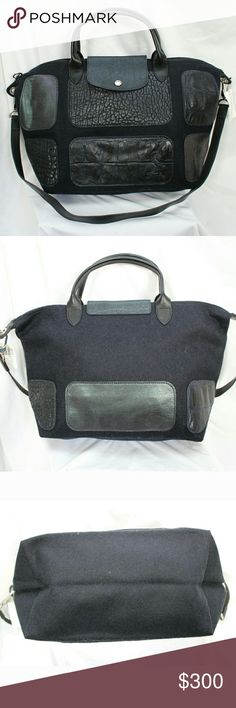 """Longchamp Le Pliage Patch Exotic Handbag Hobo 100% Authentic. Style # 1515562006. Beautiful Medium handbag w/ Cowhide leather patches & silver-tone hardware. Leather snap flap closure. Zip closure. Dual top handles measure approximately 12"""" w/ 4"""" drop; Removable strap is 31"""" with 16"""" drop. Measures approximately 18'' at widest x 10.5'' tall at center x 7.5'' deep. Wool / Leather. Spacious interior & handy shoulder strap, this carryall is primed for your daily commute.  MADE IN FRANCE…"""