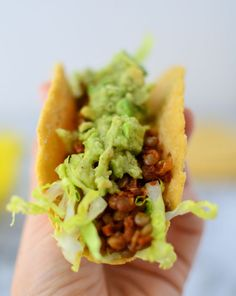Lentil Tacos! AKA the BEST swap for meat tacos- same amount of protein, 1/2 the fat! #vegan and #glutenfree option