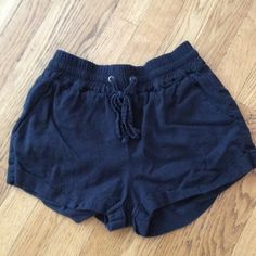 """Forever 21 linen shorts blue Great condition but do need to be ironed. Two front pockets and drawstring. Length is around 11""""  inseam about 1 1/2""""  waist is 12"""" with drawstring and stretch. Forever 21 Shorts"""