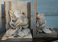 Oyster Shell Bookends/Reclaimed Wood Bookends ~ by My Honeypickles