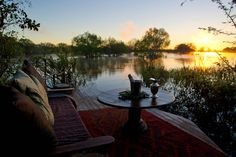 Perfect peace and quiet on Sindabezi Island, all you can hear is the pop of the 'bubbles' cork! Bubble S, Perfect Peace, Victoria Falls, Under The Stars, Cork, Safari, Africa, Camping, Island