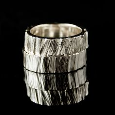 Saw Cut Rustic Wedding Rings in  Sterling Silver, Set of 2 Rustic Wedding Bands. $265.00, via Etsy.