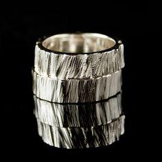 Saw Cut Rustic Wedding Rings in  Sterling Silver, Set of 2 Rustic Wedding Bands. $265.00, via Etsy.