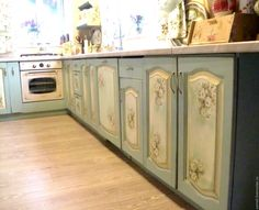 """Купить """"Цветущий сад"""" Кухнонная мебель в стиле Прованс - мятный, кухня, кухня Прованс"""