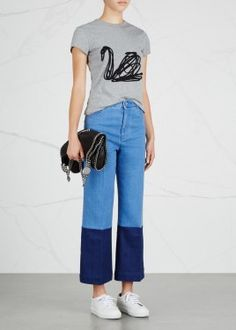 Two-tone cropped jeans